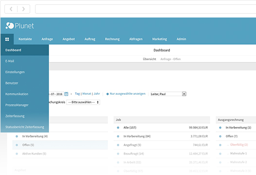 Plunet Translation management systems_dashboard_de