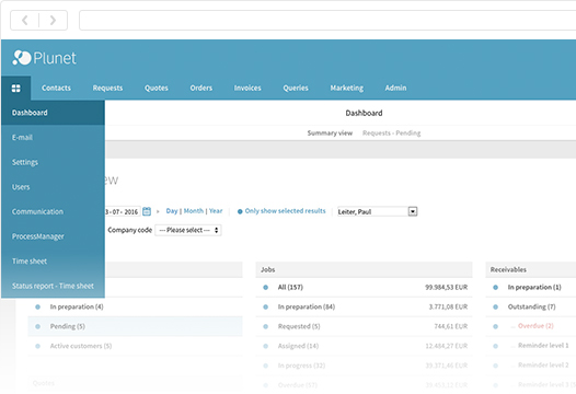 Plunet translation management systems_dashboard